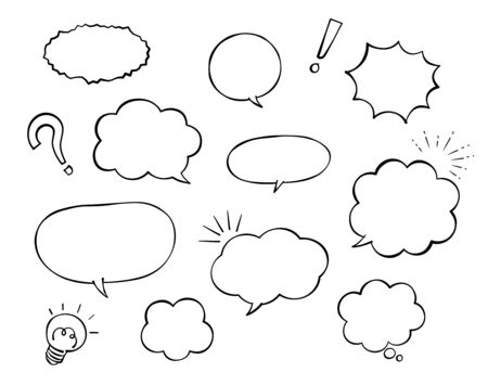 Speech bubble and decoration set (Monochrome Pen drawing)