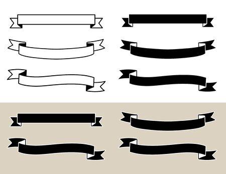 Title ribbon frame set (decoration, ornament, band, retro) Çizim