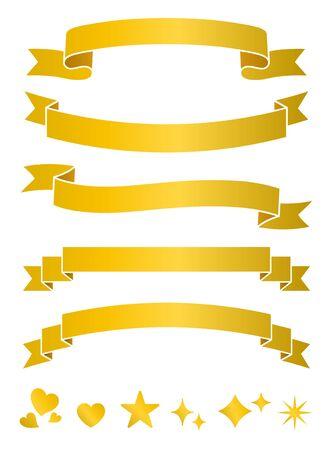 Gold ribbon frame set (decoration, ornament, band, retro)