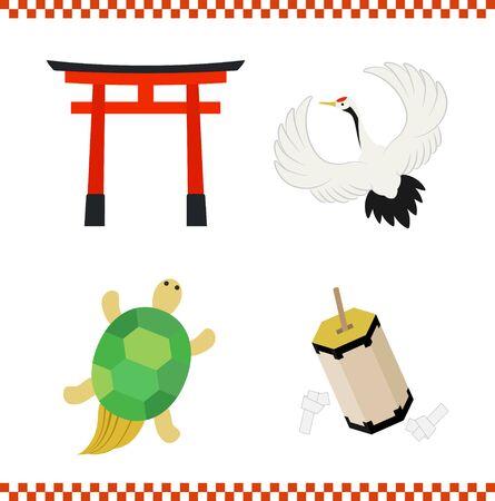 crane, turtle, Torii, Omikuji icon