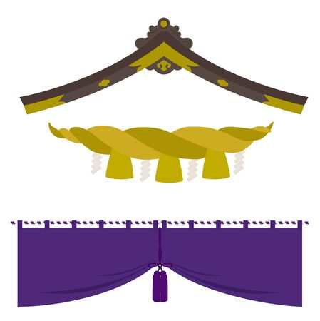 Gable roof, Shimenawa, curtain, Japanease traditional icon