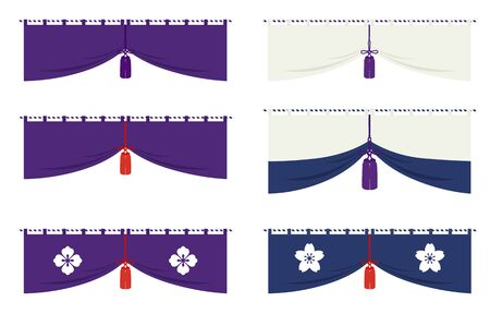 Japanese traditional Curtain illustration set