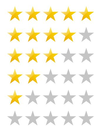5 stars icon, yellow, Sign, rating, set