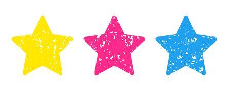 stars icon set Colored pencil texture Stock Illustratie