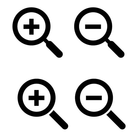 Magnifying glass icon set Zoom in and out Ilustração