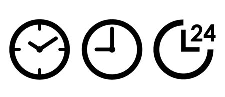 Clock 24 hours icon set, sign, pictogram
