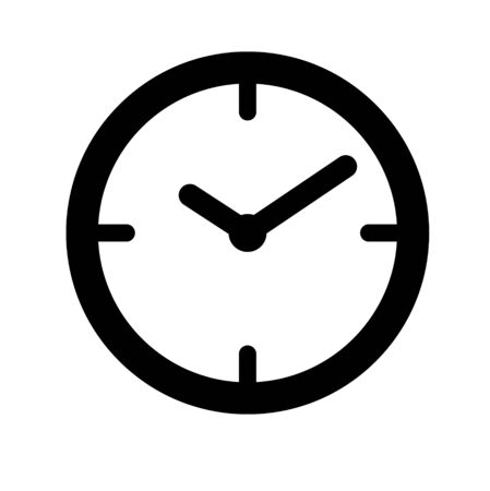 Clock icon, sign, pictogram, material