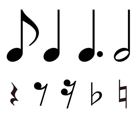 Musical note, Rest, sign material set Фото со стока - 133656214