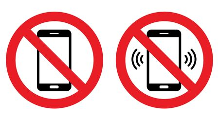 Phone, call, sound ban Sign Ilustrace