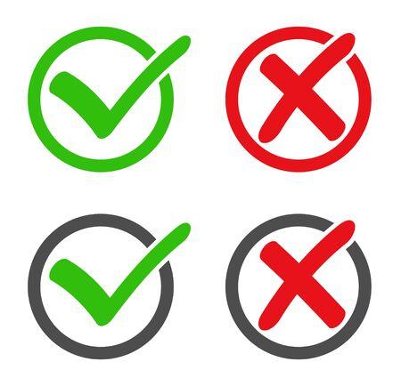Compruebe el conjunto de iconos (sí, no) Ilustración de vector
