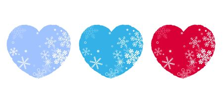 Heart and Snowflakes, Snow Crystal, Icon Set Illusztráció