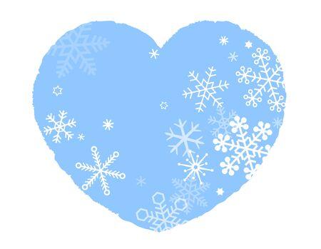 Heart and Snowflakes, Snow Crystal, icon Illusztráció
