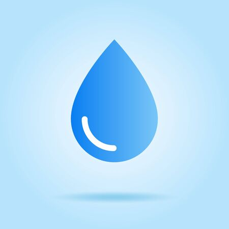 Water drop icon, sign, material blue back 向量圖像