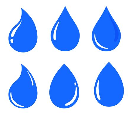 Water drop icon, sign, material set
