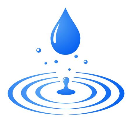 Water drop and ripple, splash icon, sign, blue background