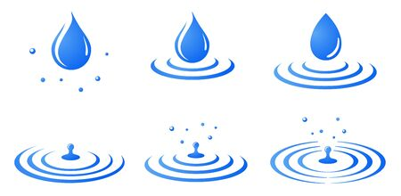 Water drop and ripple, splash icon, sign set