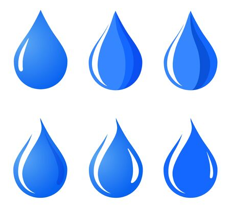 Water drop icon, sign, illustration set