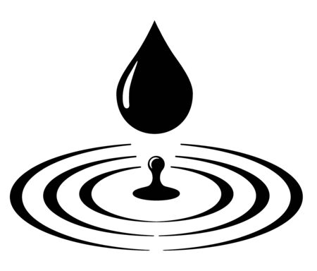 Water drop and ripple, splash icon, sign