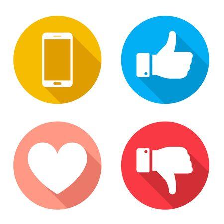 Buena señal, mala señal, corazón, icono de teléfono inteligente