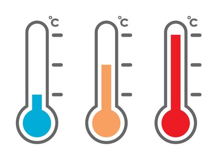 Thermometer and temperature icon hot or cold