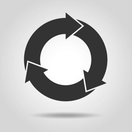 Cycle and flowchart arrow icon 3 divisions Иллюстрация