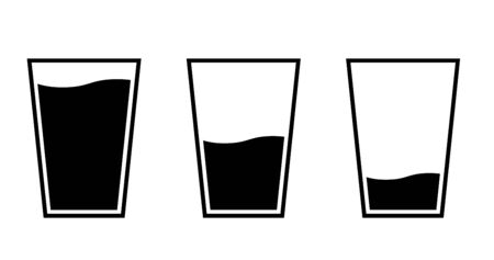 Glass and water icon set, Variation of quantity