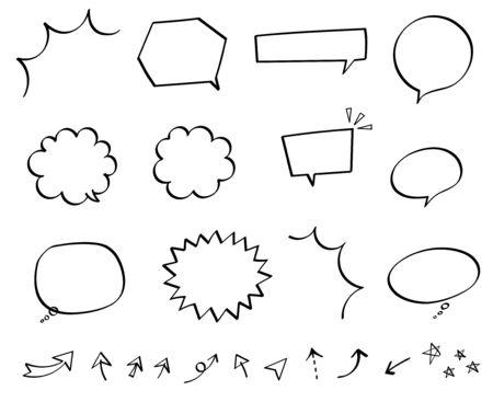 Pen marker speech bubble set (hand-drawn style), Monochrome Иллюстрация