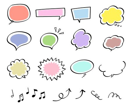 Pen marker speech bubble set (hand-drawn style) Иллюстрация