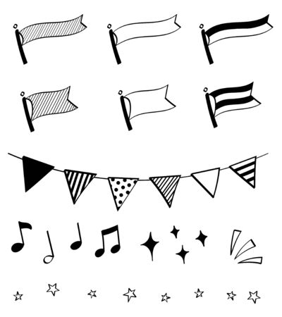 Pen marker hand drawn decoration set (garland, flag)
