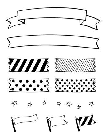 Pen marker hand drawn decoration set (Ribbon, tape, flag)