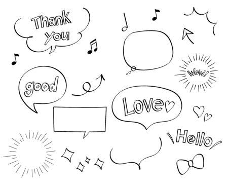 Pen marker hand drawn decoration set (speech balloon, phrase, Arrows)