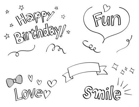 hand drawn fantasy decoration set (speech balloon, phrase, ribbon)