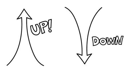 Dibujado a mano flechas arriba y abajo Vector icono, signo Ilustración de vector