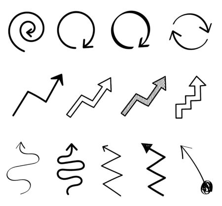 Hand Drawn Arrow Vector Icon, Sign Collection