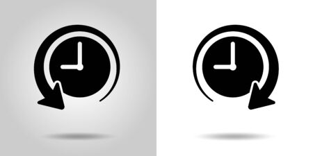 The past and the future of time clock icon, sign set Иллюстрация
