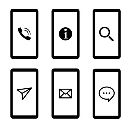 Smartphone and communication business icon set