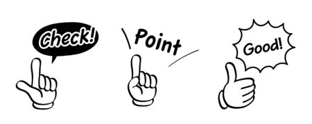 Hand gestures and words icon set