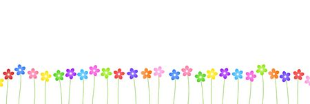 Colorful Flower Border Background Material (Wide)