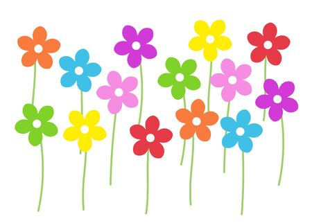 7 colorful flowers illustrations material