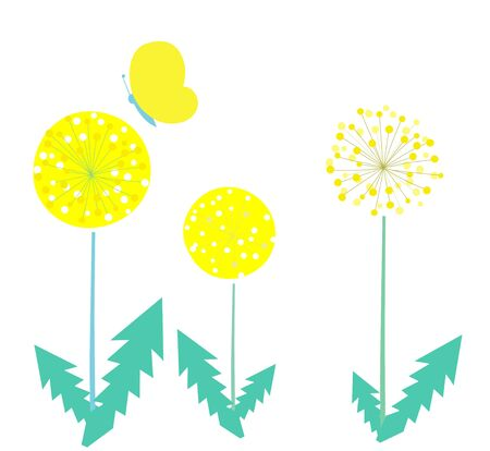 Dandelion and butterfly design Illustration material Ilustracja