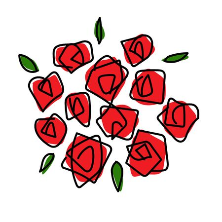 Rose bouquet line drawing material