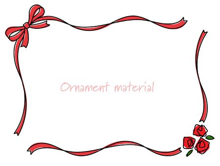 Ribbon and Rose line drawing frame 일러스트