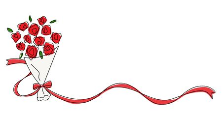 Rose bouquet with ribbon line drawing material