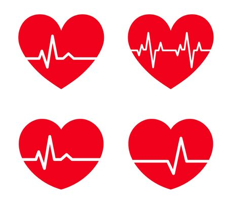 electro-cardiogram line rhythm and heart shape illustration material