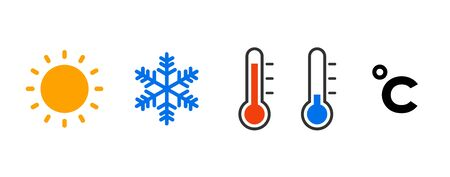 Weather and Temperature icon set Illustration