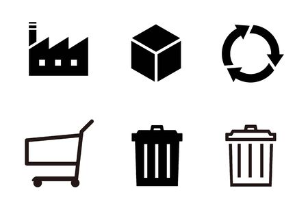 Production garbage recycling icon set