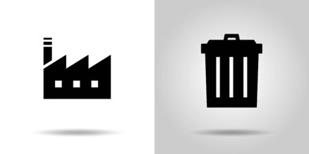 factory and Garbage can icon set