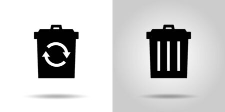 recycling and Garbage can icon set