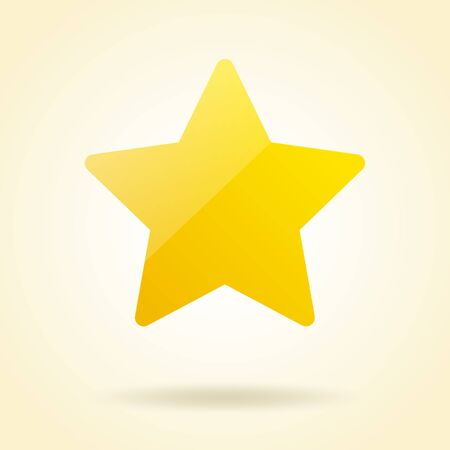 Yellow shining star icon and white background