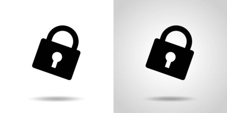 black color padlock icon set and background